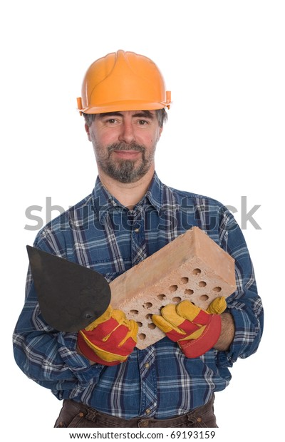 Smiling bricklayer with trowel and brick.