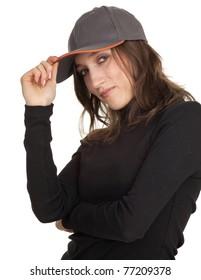 smiling brown hair woman in baseball cap and black blouse