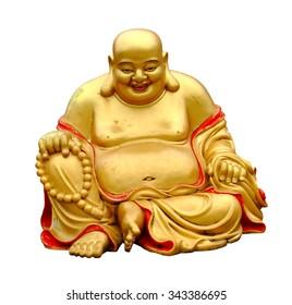 Smiling Buddha with isolated background