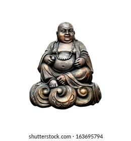 Smiling Buddha. Isolated on white background.