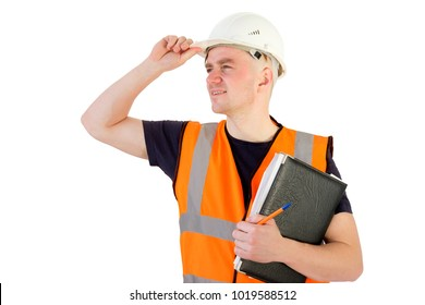 smiling builder foreman in white protectiive cask isolated on white looking faraway