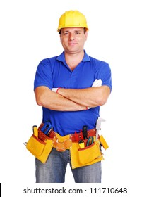Smiling builder on white background