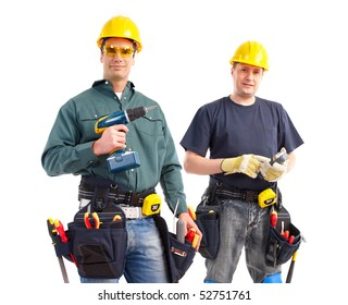smiling builders. Isolated over white background