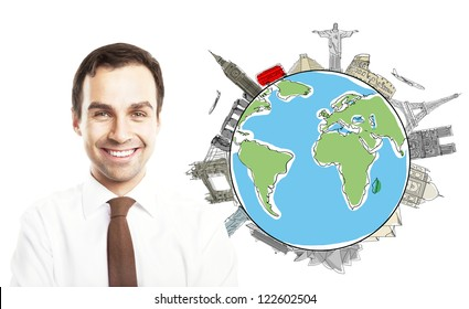 smiling businesman with drawing colorized earth, traveling concept