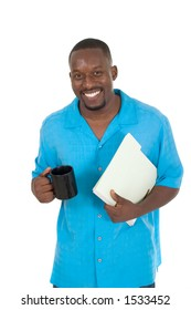 Smiling business man, teacher, professional medical doctor, or nurse relaxing with a cup of coffee and holding papers in a folder.