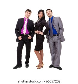 smiling business team standing on a white background