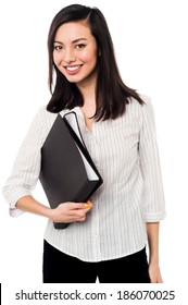 Smiling business woman with black folder
