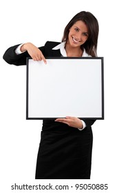 Smiling business woman with a blank board ready for text or image