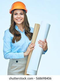 Smiling business woman engineer isolated portrait. Architect worker protect helmet wearing.