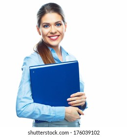 Smiling Business woman with business folder. Isolated white background portrait.