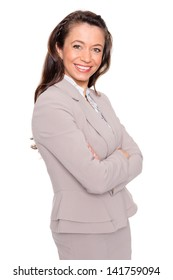 Smiling business woman in front of white background
