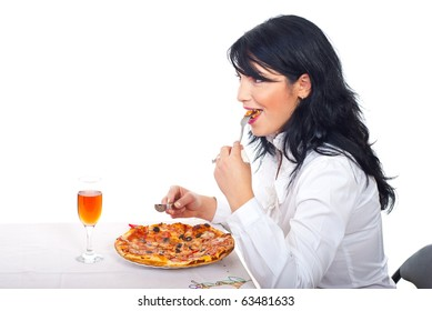 Smiling business woman having lunch and eating pizza in business break from office