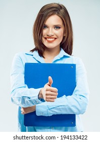 Smiling business woman hold paper folder show thumb up. Blue folder.