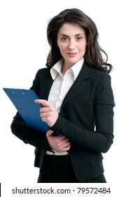 Smiling business woman holding document on clipboard isolated on white background