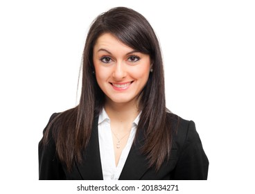 Smiling business woman isolated on white