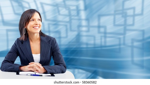 Smiling business woman. Over blue abstract background