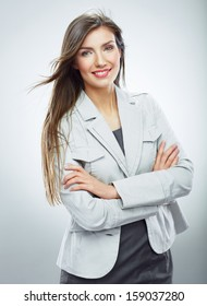 Smiling business woman portrait. Isolated on white background. White suit.