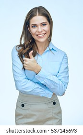 Smiling business woman show thumb up. isolated portrait.