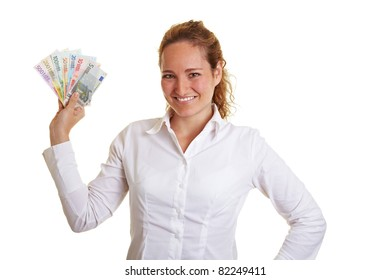 Smiling business woman showing a Euro money bill fan