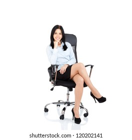 Smiling business woman sitting in chair. young businesswoman smile isolated over white background
