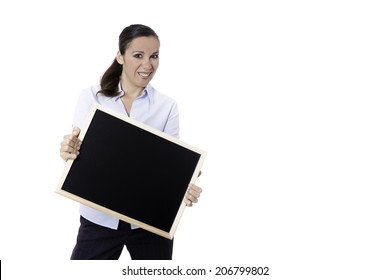 smiling business woman standing with a blackboard isolated on a white background