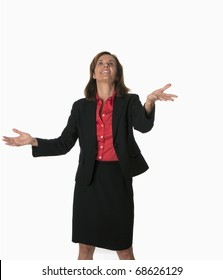 smiling business woman successfully juggling