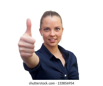 Smiling business woman , with thumb up sign