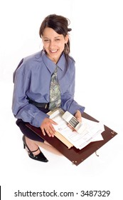 Smiling business woman is using phone on white backgrounds
