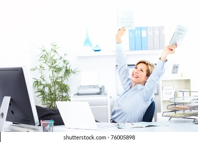 Smiling business woman  working at modern office