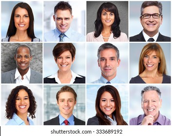 Smiling business women and men faces collage background.