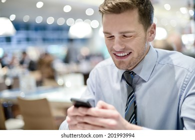 Smiling businessman in cafe using mobile phone