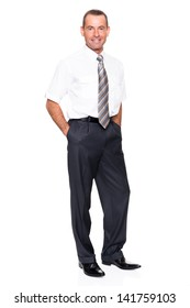 Smiling businessman in front of white background