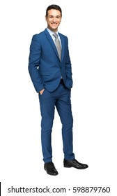 Smiling businessman full length portrait