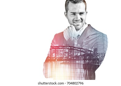 Smiling businessman isolated over white double exposure