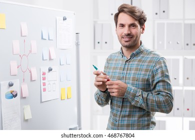 Smiling businessman near whiteboard ready for project presentation. Shelves with folders at background. Concept of corporate work