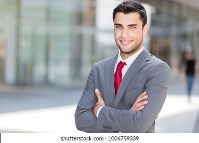 Smiling businessman outdoor