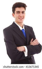 Smiling businessman portrait on white background