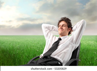 Smiling businessman relaxing on a chair on a green meadow