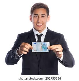 Smiling businessman showing a twenty euro banknote