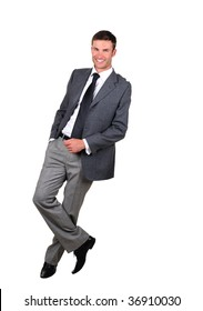 Smiling  businessman standing full length isolated on white background