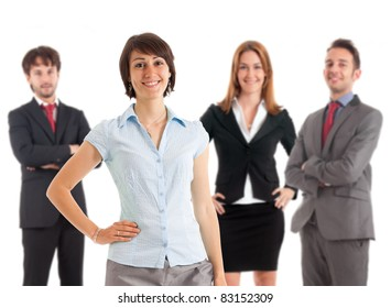 Smiling businesspeople. A beautiful businesswoman is on the front.