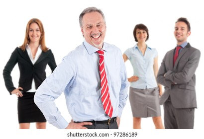 Smiling businesspeople. Their leader is on the front