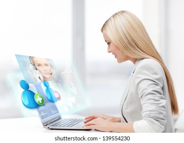smiling businesswoman communicating with helpline operator