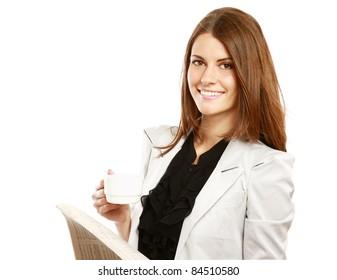Smiling businesswoman having coffee break isolated on white background
