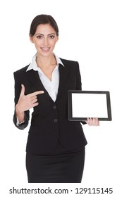 Smiling Businesswoman Holding Digital Tablet. Isolated On White