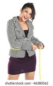 Smiling Businesswoman for loosing her weight
