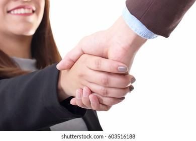 smiling businesswoman making hand shake on white background