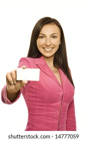 Smiling businesswoman in pink jacket