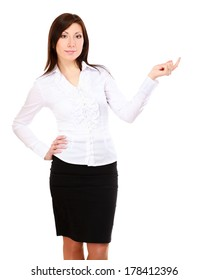 A smiling businesswoman pointing up, isolated on white background
