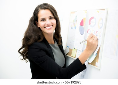 Smiling businesswoman presenting graph data on the board